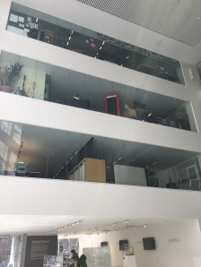 the upper levels of E-14 visible from the lobby