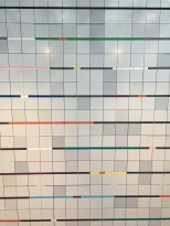 detail of tile-work by field color artist Kenneth Noland who also designed the outside of the building