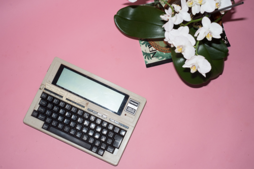 Radioshack TRS-80 on a pink background next to flowers